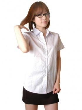 タイの女学生風 半袖スクールシャツ&タイトスカート